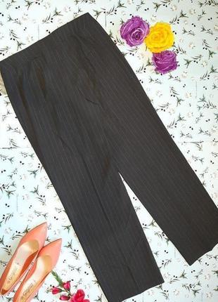 🌿1+1=3 классические высокие брюки шерсть в полоску свободного прямого кроя, размер 50 - 529 фото