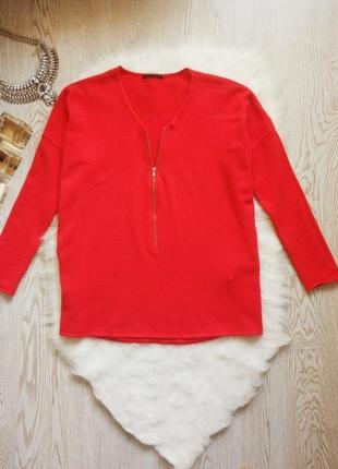 Красный теплый вязанный свитер с кашемиром с молнией замком на вырезе декольте кофта