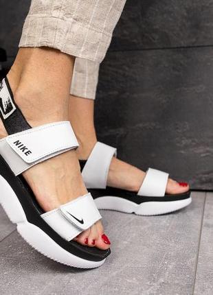 Женские кожаные сандалии, белые nike, супер-качество!
