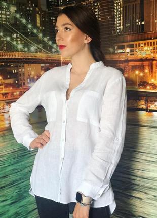 Белоснежная рубашка с натуральной ткани лён от zara