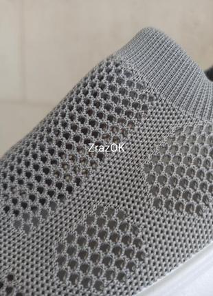 Серые белые летние кеды слипоны кроссовки мокасины сетка текстиль4 фото