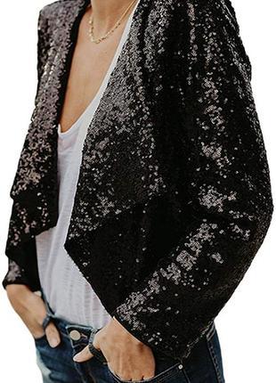 Черная блестящая накидка кардиган пайетки блестки с рукавами болеро асимметричная