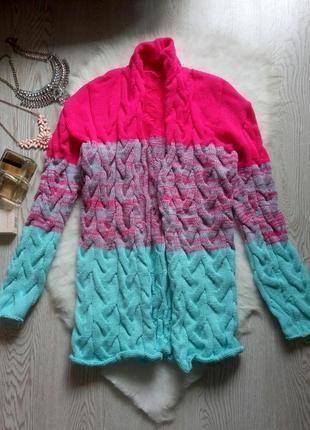Яркий цветной длинный кардиган омбре лало розовый голубой бирюзовый шерсть вязанный