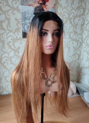 Парик из 100% натуральных волос с имитацией кожи 90 см