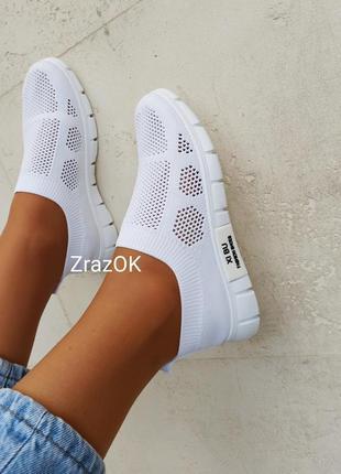 Белые слипоны мокасины кеды кроссовки сетка текстиль летние3 фото