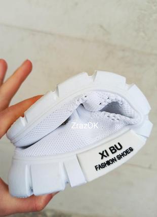 Белые слипоны мокасины кеды кроссовки сетка текстиль летние5 фото