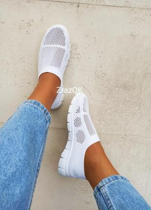 Белые слипоны мокасины кеды кроссовки сетка текстиль летние6 фото