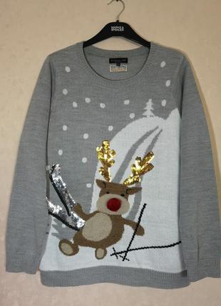 Новогодний свитер с оленем f&f