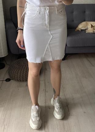 Джинсовая юбка с необработанным краем h&m