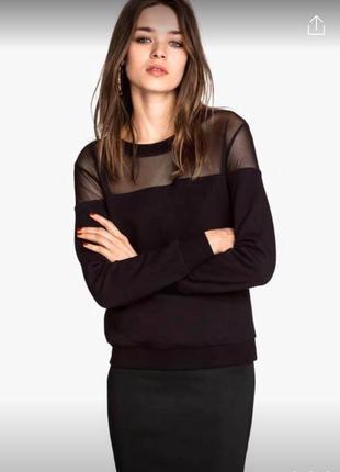 Черный свитшот джемпер с сеткой сверху на плечах кроп длинный рукав кофта теплая