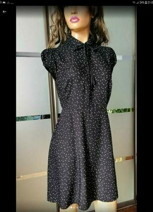 Платье в горошек. натуральная вискоза 💣