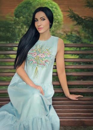 """Летний сарафан с ручной вышивкой """"полевые цветы"""""""