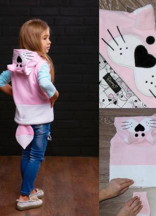 Жилетка для девочки, розовая жилетка на девочку, жилет с капюшоном, теплая жилетка котик