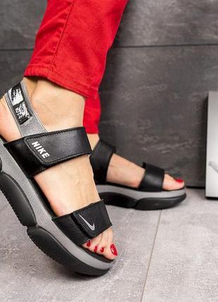 Женские кожаные сандалии, черные nike, супер-качество!