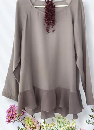 Люксовая ♥️♥️♥️ серая шелковая блузка с воланом her shirt, италия.
