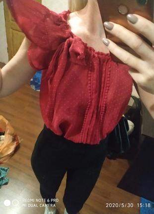 Шикарная летняя блуза в горошек свободного покроя- s m
