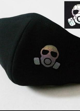 Многоразовая маска черная с принтом