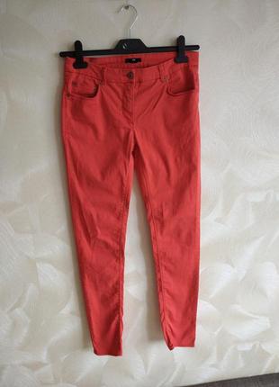Яркие морковные  летние джинсы, скины h&m
