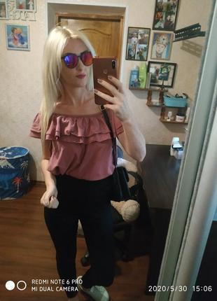 Абалденная шикарная блуза рюши -m lxl