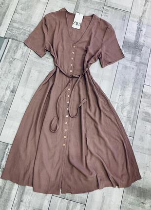 Платье миди на пуговицах с поясом zara