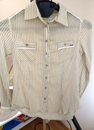 Рубашка з натуральної тканини бежева в зелену полоску mango xs