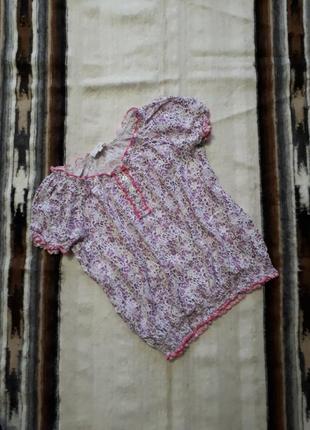 Блуза блузка с открытыми плечами цветочный принт  11- 12 лет вискоза