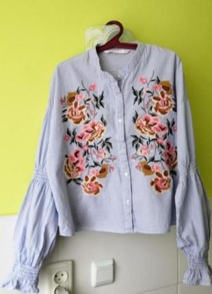 Рубашка с вышивкой от zara