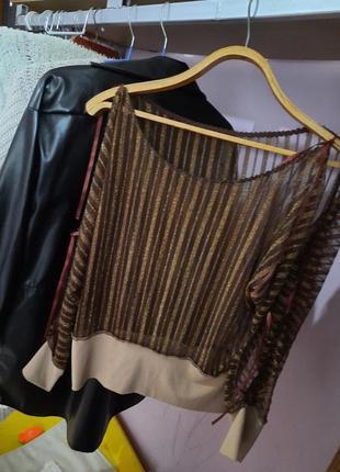 Полупрозрачная кофта с открытыми руками плечами нарядная