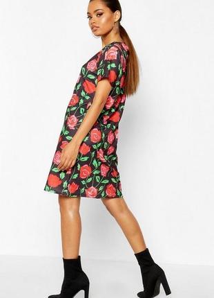 Boohoo, платье с флористическим принтом свободного кроя. uk 12 на наш