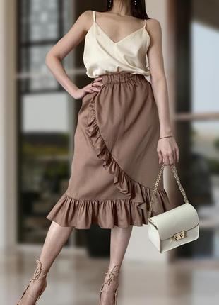 Элегантная коричневая юбка миди с рюшами молочный шоколад lacreccita couture