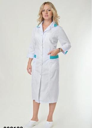 Белый халат медицинский, батист, р. 48-66; женская медицинская одежда, 892133
