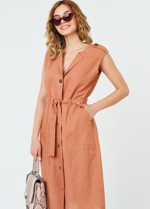 Женское летнее льняное платье на пуговицах