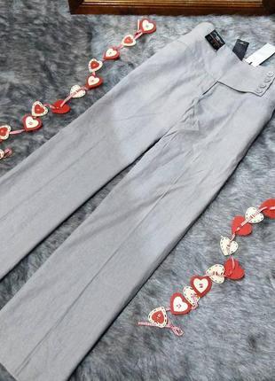 Новые! брюки палаццо с высокой посадкой из льна new look