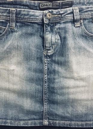 Sale ! ! фирменная короткая джинсовая юбка мини only р. 31 хл-ххл