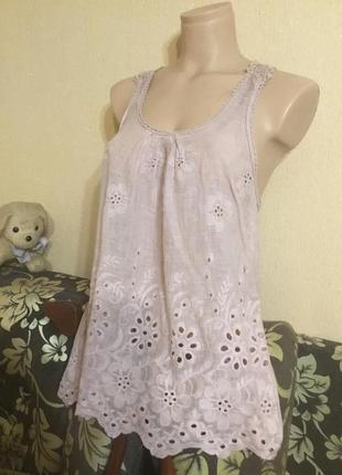 Sale  ! ! шикарная итальянская майка блуза ажурная спинка италия 100% хлопок пудра
