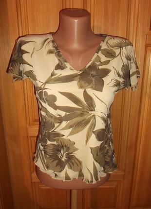 Блуза сетка двойная  цветная беж оттенки р. 14 -l -  moda internacionale