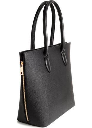 Обйомная сумка шопер с молниями h&m