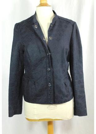 Шикарный льняной пиджак с вышивкой на кнопках 16/50-52 размера