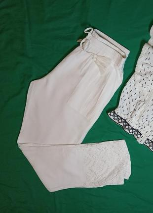 Летние брюки белые, вышивка, натуральная ткань, р-р uk12 (m, наш 46)