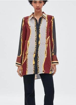 Рубашка в платочный принт с цепочками  размер 10-12 от zara
