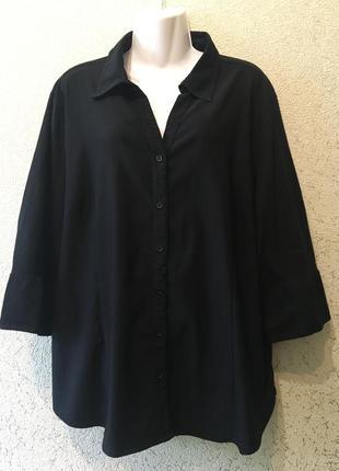Женская базовая чёрная батальная рубашка/блуза большого размера