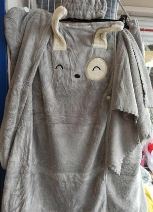 Махровый набор 4в1 полотенце-халат, чалма, повязка, полотенце для лица