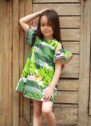 Летнее платье с открытыми плечами на девочку, детские платья с пальмовыми листьям