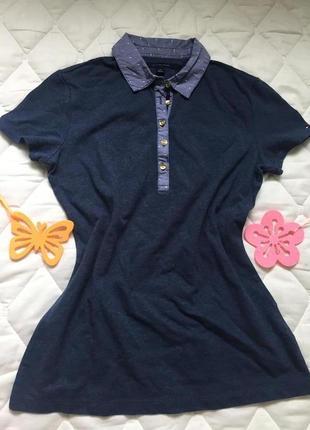 Женское поло tommy hilfiger original 36\s футболка синего цвета
