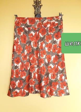 Красивая шелковая юбка в цветы
