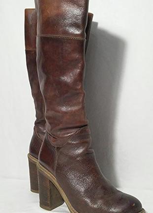 Сапоги кожаные коричневые, made in italy