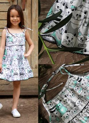 Летнее платье на девочку, детское платье с котиками, хлопковое платье с тонкими бретелями