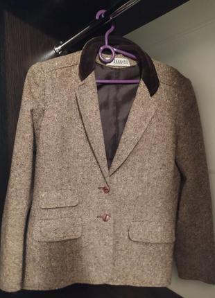Классический твидовый костюм (пиджак и юбка) коричневый винтаж