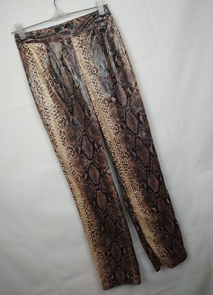 Брюки штаны модные питоновые высокая посадка uk 8/36/xs