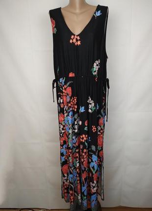 Платье макси трикотажное шикарное в цветы большого размера uk 22/50/4xl